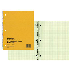 "Rediform Wirebound Notebook, 5"" x 5"" Quad, 11"" x 8 1/2"", 80 Pages, Green"
