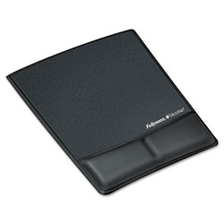 "Fellowes Mouse/Pad Wrist Support, Leatherette, 8-1/4"" x 9-7/8"" x 3/4"", Black"