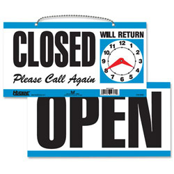 "U.S. Stamp & Sign White and Blue Open/Close Sign with Please Call Again, 11 1/2"" x 6"""