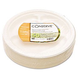 "Baumgarten's Disposable 10.5"" Paper Plates, White, Pack of 50"