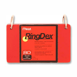 "Mead Index Cards Ringdex, w/Removable, Poly Tab, 3""x5"", Asst."