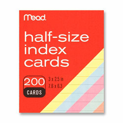 "Mead Index Cards, Half-size, 3""x2-1/2"", 200/PK, Assorted"