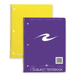 "Roaring Spring Paper Spiral Bound Notebook, 1-Sub, Cllg Rld, 10-1/2"" x 8"" 3HP, 70Sh, Ast"