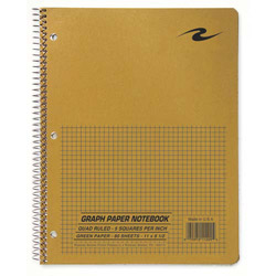 "Roaring Spring Paper Quad Notebook, Wirebound, 5x5 Quad, 3HP, 11"" x 8-1/2"" 80 Sh, Brown"