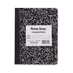"Roaring Spring Paper Composition Book, College Ruled, 100 Sh, 9-3/4"" x 7-1/2"" BK Cvr"
