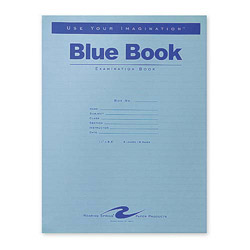 "Roaring Spring Paper Exam Book, Wide Ruled, 8 Shts, 11"" x 8-1/2"", 50/PK, Blue"