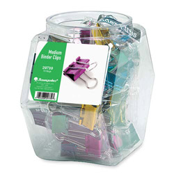 Baumgarten's Medium Metallic Colored Binder Clips in a Display Bowl, 1""