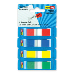 "Redi-Tag/B. Thomas Enterprises Film Flags, Self-stick, 140 Flags, 2/5"" x 1-7/10"" 4/PK, Assorted"