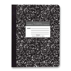 "Roaring Spring Paper Composition Book, Unruled, 50 Sheets, 9-3/4"" x 7-1/2"" Black Cvr."
