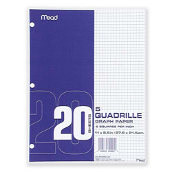 "Mead Graph Paper, 3HP, Quad Ruled, 8-1/2"" x 11"" White"