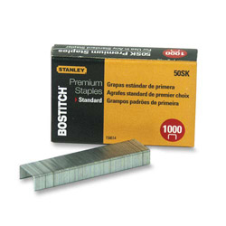 "Stanley Bostitch Standard Staples, 1/4"", 1000/BX"