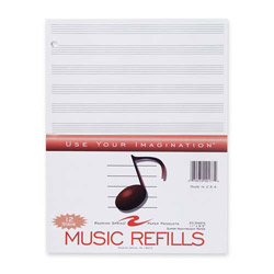 "Roaring Spring Paper Music Refill Paper, 3-Hole, 11""x8-1/2"", 20SH/PK, White"