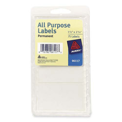 "Avery Permanent All-Purpose Labels, 1 1/2""x2 3/4"", White"