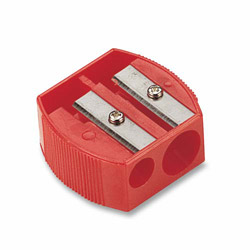 "Officemate Pencil/Crayon Sharpener, 1-1/4""x5/8""x1-1/4"", Red"