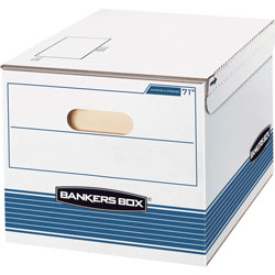 Fellowes STOR/FILE Storage Box, Letter/Legal, 12 x 15 x 10, White/Blue, 12/Carton