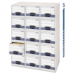 Fellowes STOR/DRAWER Steel Plus Storage Box, Legal, White/Blue, 6/Carton