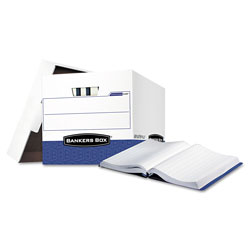 Fellowes Storage Box for Bound Computer Printouts, White/Blue, 12/Ct