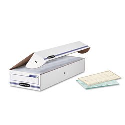 Fellowes STOR/FILE Storage Box, Check, Flip-Top Lid, White/Blue, 12/Carton