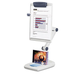 Fellowes Weighted Base Flex Arm Copyholder, High Impact Plastic, Platinum/Graphite