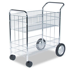 Fellowes Wire Mail Cart, 150 Folder Capacity, 18wx39 1/4hx38 1/2d, Chrome Plated