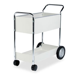 Fellowes Steel Mail Cart, 150 Folder Capacity, 16 1/4wx39 1/4hx38d, Dove Gray