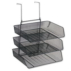 Fellowes Mesh Partition Additions Triple Tray, Side Load, Letter Size, Black