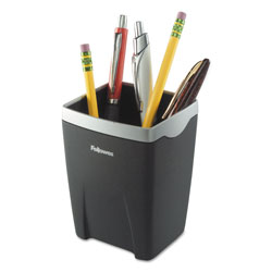 Fellowes Pencil Cup, Center Divider, Black/Silver