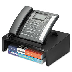 "Fellowes Black Phone Stand with 3"" Storage Space, 13"" x 9 1/4"" x 4 3/8"""