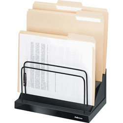 "Fellowes Black Step File with 6 1"" Compartments, 11 1/4"" x 7 1/8"" x 10 1/2"""