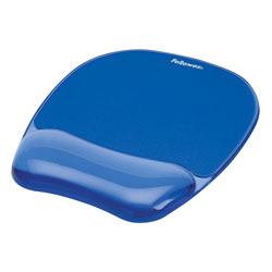 Fellowes Gel Crystals Mouse Pad with Gel Wrist Rest, Blue