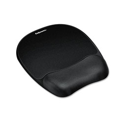 Fellowes Mouse Pad w/Wrist Rest, Nonskid Back, 7 15/16 x 9 1/4, Black