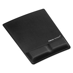Fellowes Memory Foam Wrist Support With Attached Mouse Pad, Black