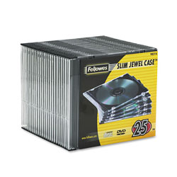 Fellowes 98316 Clear and Black Thin Jewel Cases