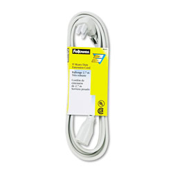 Fellowes 99595 Indoor Heavy Duty Extension Cord, 3 Prong Plug, 1 Outlet, 9 ft. Length, Gray