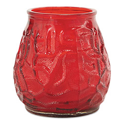 Fancy Heat F460-RD Victorian Filled Glass Candles, Red