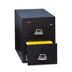 "Fireking Insulated Two Drawer Vertical File, 25"" Deep, Letter Size, Black"