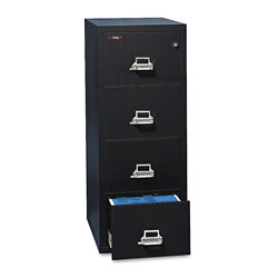 "Fireking Insulated Four Drawer Vertical File, 25"" Deep, Letter Size, Black"