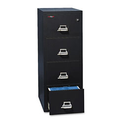 "Fireking Insulated Four Drawer Vertical File, 25"" Deep, Legal Size, Black"