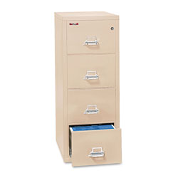 "Fireking Insulated Four Drawer Vertical File, 25"" Deep, Legal Size, Parchment"