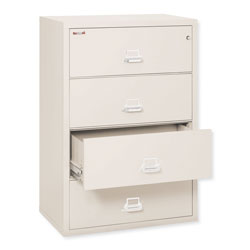 "Fireking Insulated Four Drawer Lateral File, 37 27/64"" Wide, Letter/Legal, Parchment"