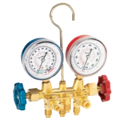 FJC R134a Brass Manifold Gauge Set with Manual Couplers
