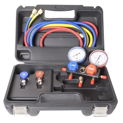 FJC R134a Aluminum Block Manifold Gauge Set with Manual Couplers