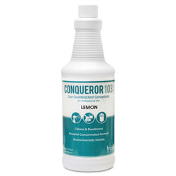 Fresh Products Conqueror 103 Odor Counteractant Concentrate, 32 oz., Lemon Fragrance, 12/Ctn