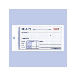 Rediform Small Carbonless Rent Receipt Book, 1/Page, Duplicate, 50 Sets/Book