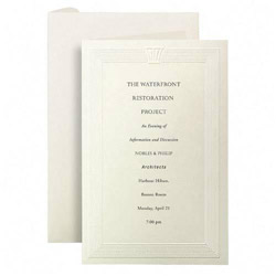 First-Base Embossed Invitation Cards, 40 Cards/40 Envelopes, Ivory