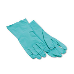 Boardwalk Nitrile Flock-Lined Gloves, Large, Green, Dozen