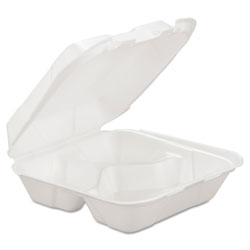 Generations Consumer Foam Hinged Carryout Container, 3-Comp, White, 8 1/4 x 8 x 3, 200/Carton