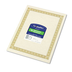 Geographics Certificates for Copier/Laser/Ink Jet, 8-1/2x11, Natural Diplomat Border, 50/Pack