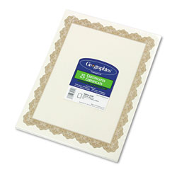 Geographics Optima Gold 8-1/2x11 Award Certificates/Gold Seals, 25 Certificates & 25 Seals/Pack