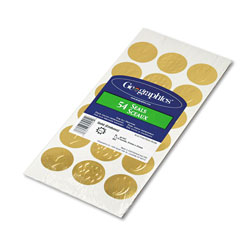 Geographics Self Adhesive Embossed Gold Seals, 54 Seals per Pack